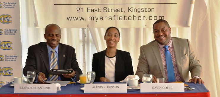 L-R : Lioyd Distant Jr, JCC 3rd Vice President and Chairman of the Jamaica Conference Board; Alexis Robinson, MF&G Attorney-at-Law and Associate ; and Gavin Goffe, MF&G Attorney-at-Law and Partner.